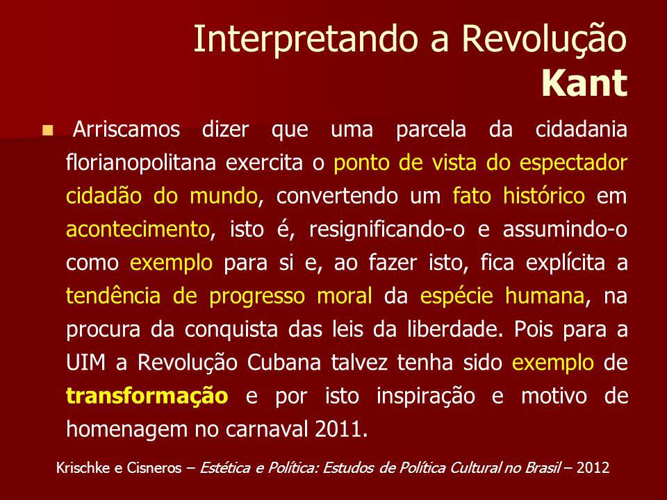 Interpretando a Revolução Kant Arriscamos dizer que uma parcela da cidadania florianopolitana exercita o ponto de vista do espectador cidadão do mundo, convertendo um fato histórico em acontecimento, isto é, resignificando-o e assumindo-o como exemplo para si e, ao fazer isto, fica explícita a tendência de progresso moral da espécie humana, na procura da conquista das leis da liberdade.
