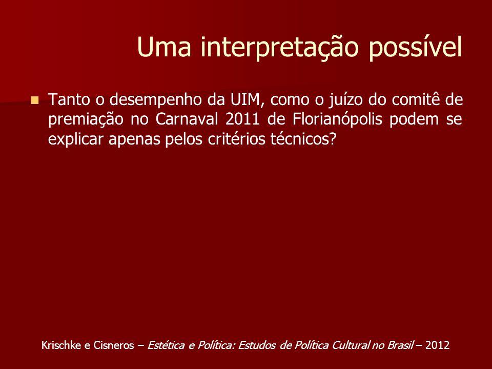 Uma interpretação possível Tanto o desempenho da UIM, como o juízo do comitê de premiação no Carnaval 2011 de Florianópolis podem se explicar apenas pelos critérios técnicos.