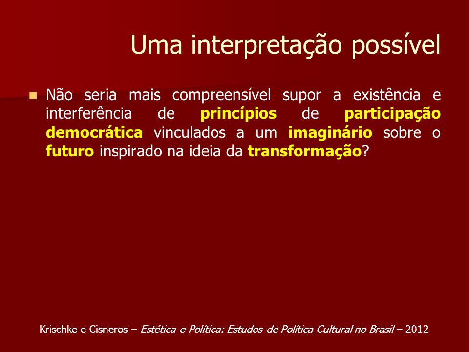 Uma interpretação possível Não seria mais compreensível supor a existência e interferência de princípios de participação democrática vinculados a um imaginário sobre o futuro inspirado na ideia da transformação.