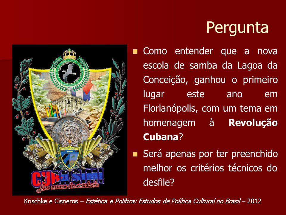 Pergunta Como entender que a nova escola de samba da Lagoa da Conceição, ganhou o primeiro lugar este ano em Florianópolis, com um tema em homenagem à Revolução Cubana.