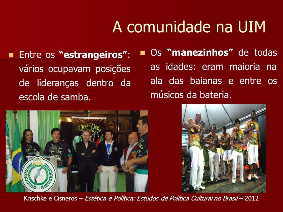 A comunidade na UIM Entre os estrangeiros: vários ocupavam posições de lideranças dentro da escola de samba. Os manezinhos de todas as idades: eram ma