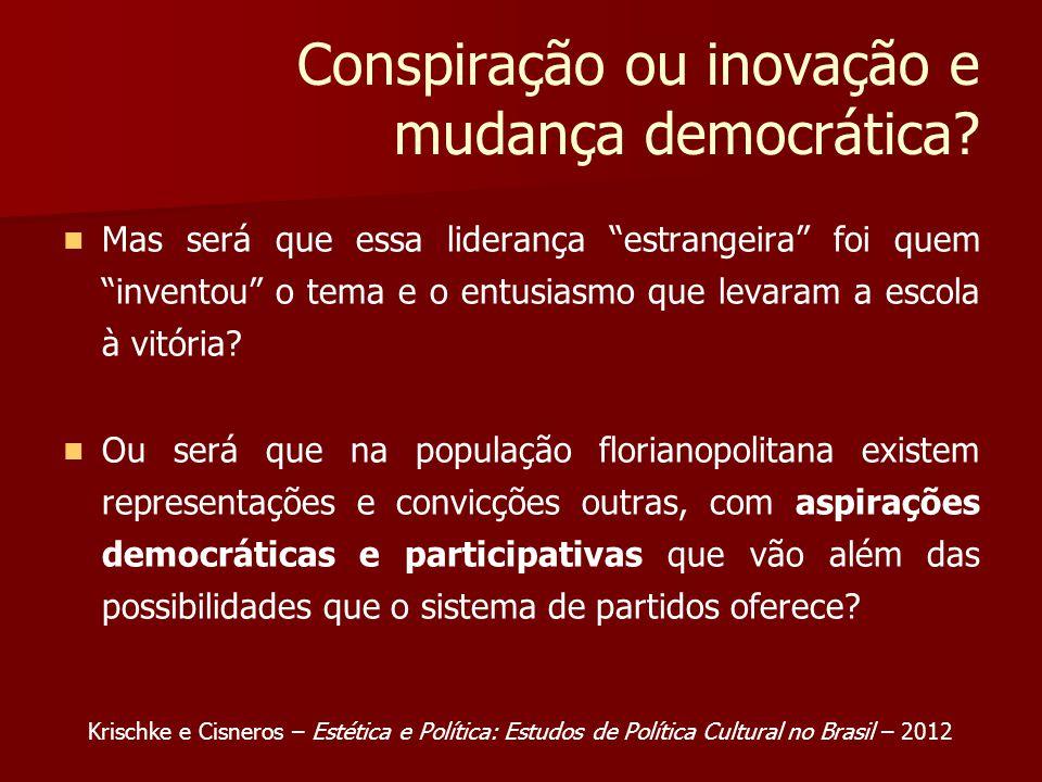 Conspiração ou inovação e mudança democrática.