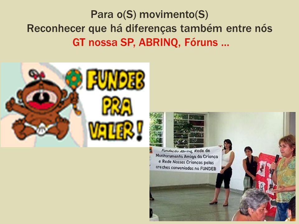 Para o(S) movimento(S) Reconhecer que há diferenças também entre nós GT nossa SP, ABRINQ, Fóruns...