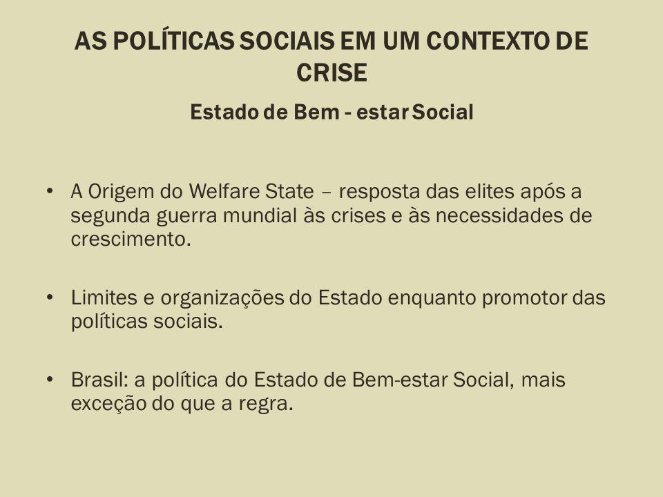 AS POLÍTICAS SOCIAIS EM UM CONTEXTO DE CRISE Estado de Bem - estar Social A Origem do Welfare State – resposta das elites após a segunda guerra mundia