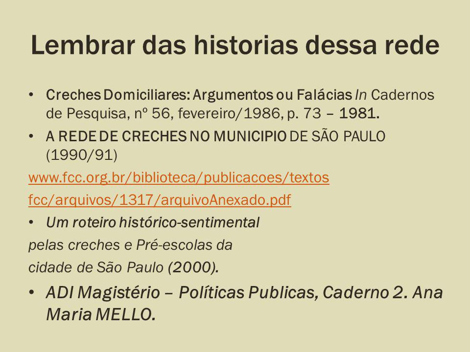 Lembrar das historias dessa rede Creches Domiciliares: Argumentos ou Falácias In Cadernos de Pesquisa, nº 56, fevereiro/1986, p. 73 – 1981. A REDE DE