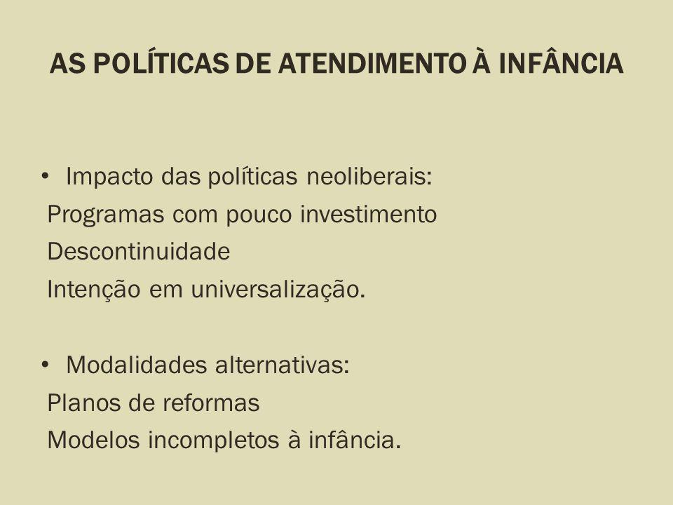 AS POLÍTICAS DE ATENDIMENTO À INFÂNCIA Impacto das políticas neoliberais: Programas com pouco investimento Descontinuidade Intenção em universalização