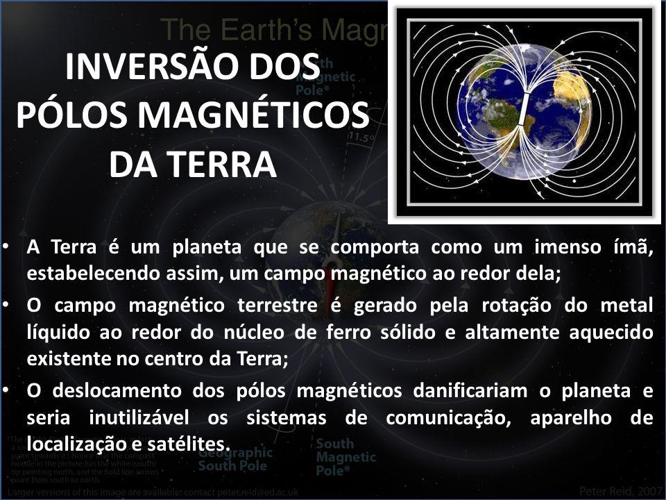 A Terra é um planeta que se comporta como um imenso ímã, estabelecendo assim, um campo magnético ao redor dela; O campo magnético terrestre é gerado pela rotação do metal líquido ao redor do núcleo de ferro sólido e altamente aquecido existente no centro da Terra; O deslocamento dos pólos magnéticos danificariam o planeta e seria inutilizável os sistemas de comunicação, aparelho de localização e satélites.
