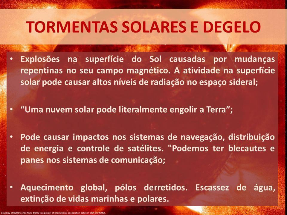 TORMENTAS SOLARES E DEGELO Explosões na superfície do Sol causadas por mudanças repentinas no seu campo magnético.