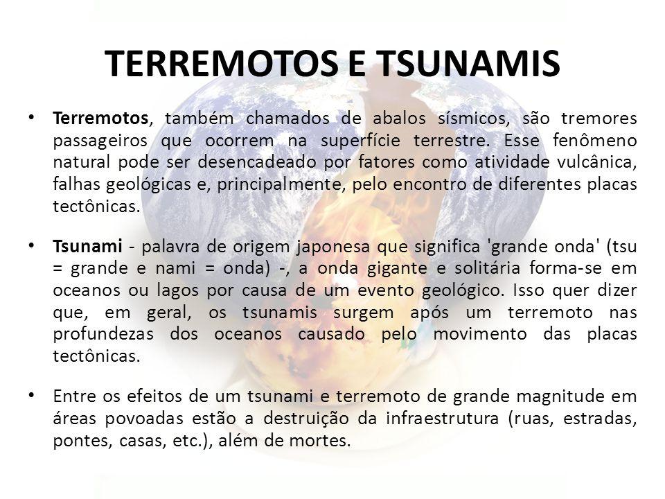 TERREMOTOS E TSUNAMIS Terremotos, também chamados de abalos sísmicos, são tremores passageiros que ocorrem na superfície terrestre.
