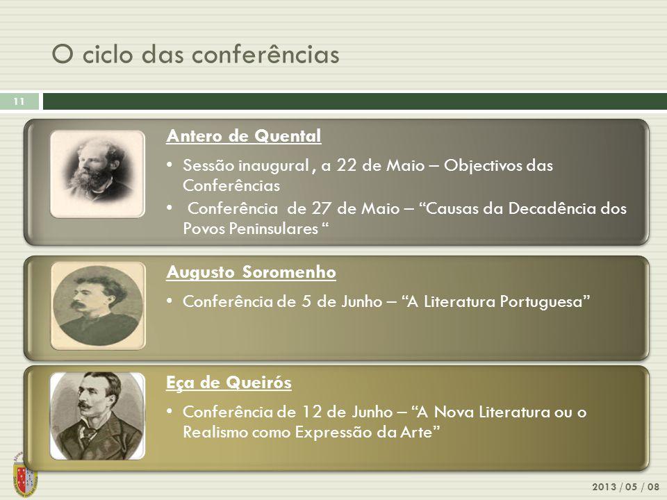 O ciclo das conferências 2013 / 05 / 08 11 Antero de Quental Sessão inaugural, a 22 de Maio – Objectivos das Conferências Conferência de 27 de Maio –