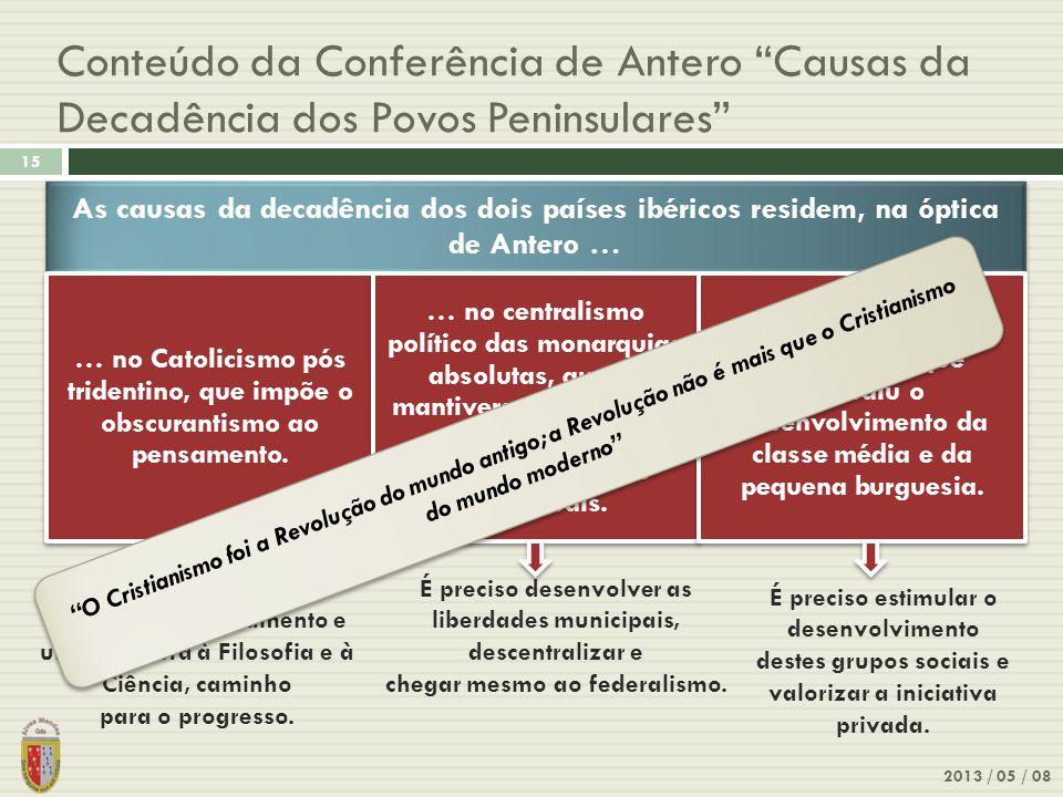 Conteúdo da Conferência de Antero Causas da Decadência dos Povos Peninsulares 2013 / 05 / 08 15 É preciso opor-lhe a liberdade de pensamento e uma abertura à Filosofia e à Ciência, caminho para o progresso.