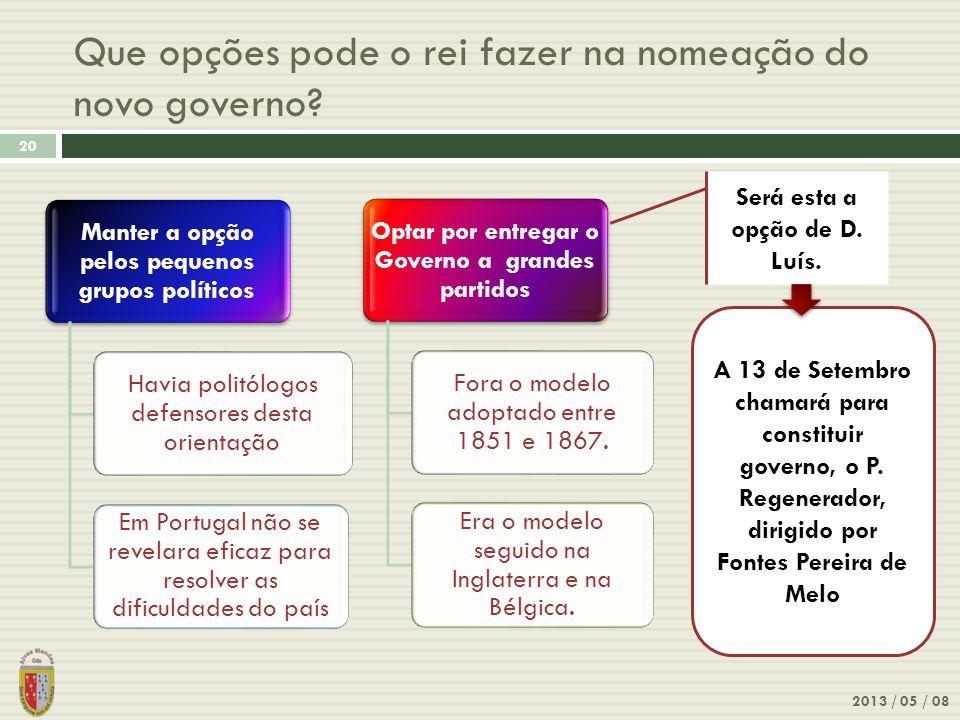 Que opções pode o rei fazer na nomeação do novo governo? 2013 / 05 / 08 20 Manter a opção pelos pequenos grupos políticos Havia politólogos defensores