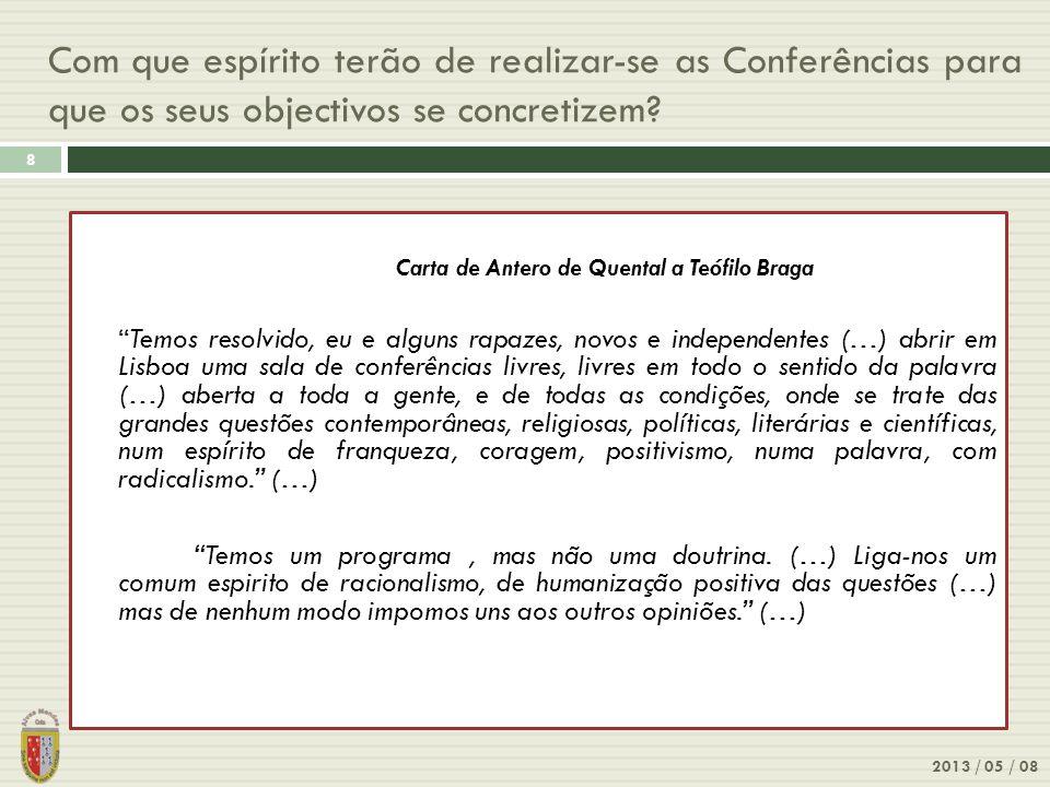 Com que espírito terão de realizar-se as Conferências para que os seus objectivos se concretizem? 2013 / 05 / 08 8 Carta de Antero de Quental a Teófil