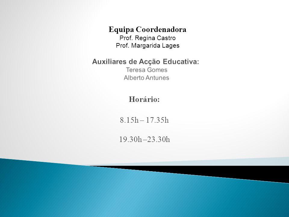 Horário: 8.15h – 17.35h 19.30h –23.30h Equipa Coordenadora Prof.