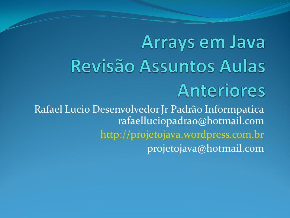 Rafael Lucio Desenvolvedor Jr Padrão Informpatica rafaelluciopadrao@hotmail.com http://projetojava.wordpress.com.br projetojava@hotmail.com