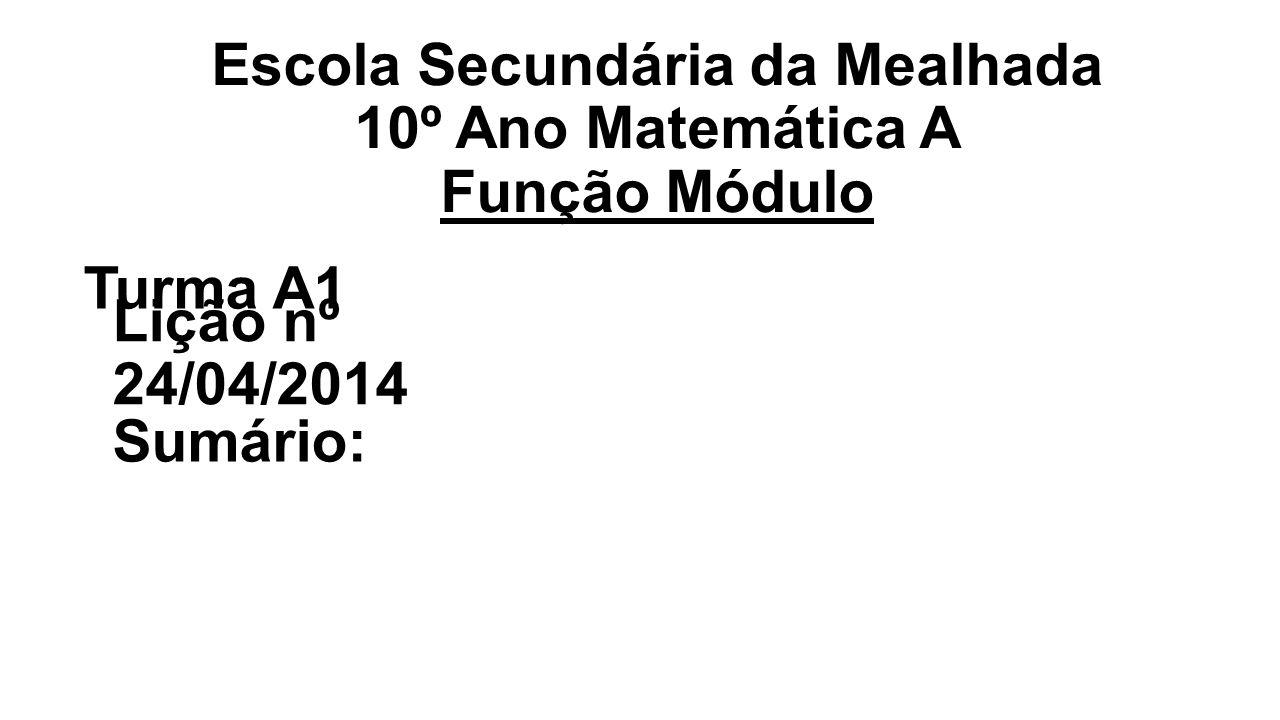Escola Secundária da Mealhada 10º Ano Matemática A Função Módulo Turma A1 Lição nº 24/04/2014 Sumário: