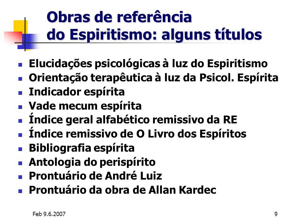 Feb 9.6.20079 Obras de referência do Espiritismo: alguns títulos Elucidações psicológicas à luz do Espiritismo Orientação terapêutica à luz da Psicol.