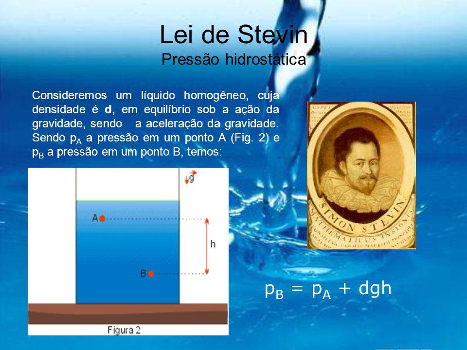 Lei de Stevin Pressão hidrostática Consideremos um líquido homogêneo, cuja densidade é d, em equilíbrio sob a ação da gravidade, sendo a aceleração da