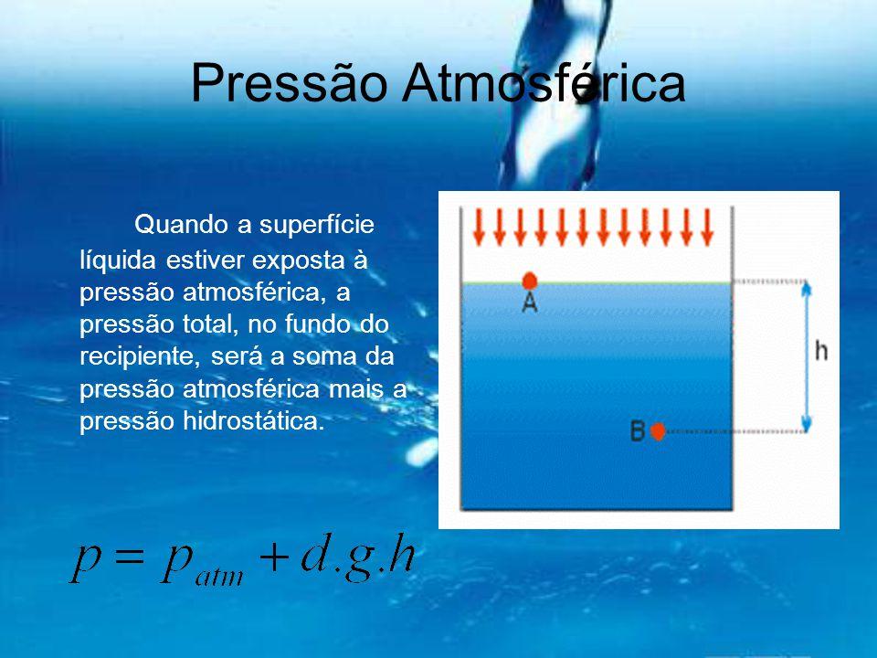 Pressão Atmosférica Quando a superfície líquida estiver exposta à pressão atmosférica, a pressão total, no fundo do recipiente, será a soma da pressão