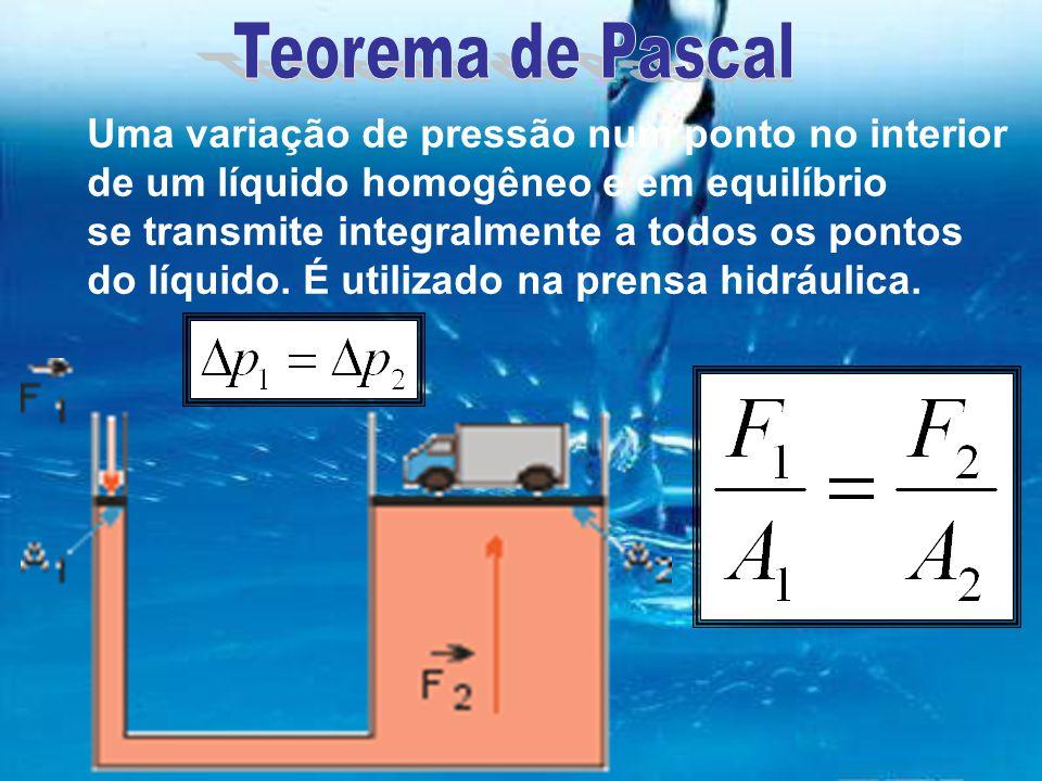 Uma variação de pressão num ponto no interior de um líquido homogêneo e em equilíbrio se transmite integralmente a todos os pontos do líquido. É utili