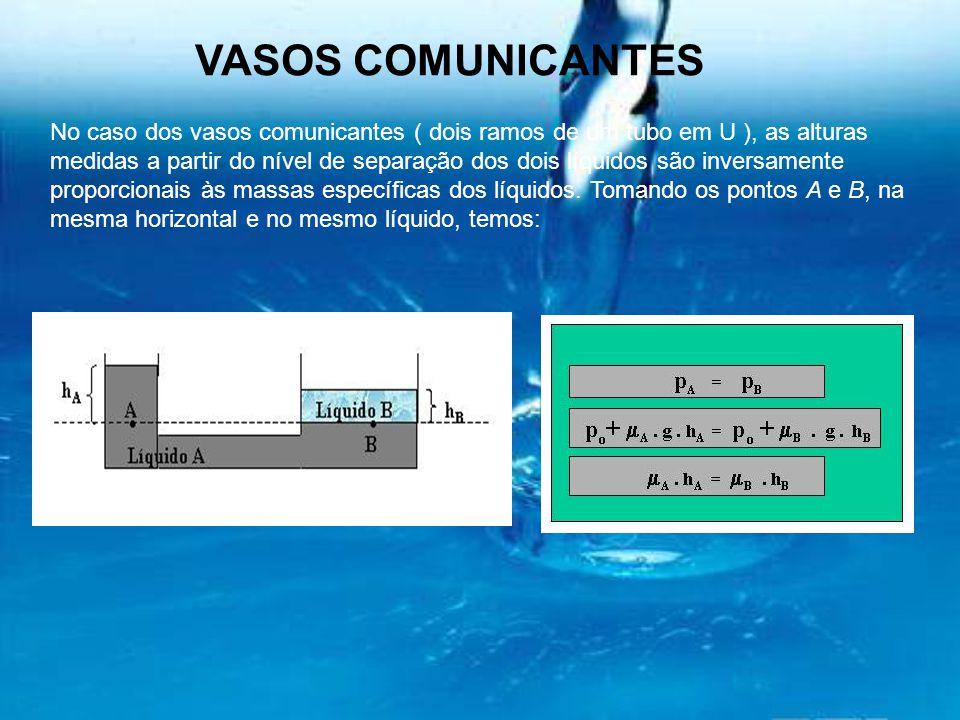 VASOS COMUNICANTES No caso dos vasos comunicantes ( dois ramos de um tubo em U ), as alturas medidas a partir do nível de separação dos dois líquidos