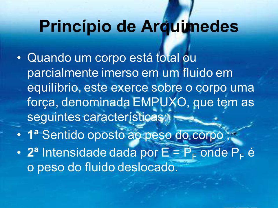 Princípio de Arquimedes Quando um corpo está total ou parcialmente imerso em um fluido em equilíbrio, este exerce sobre o corpo uma força, denominada