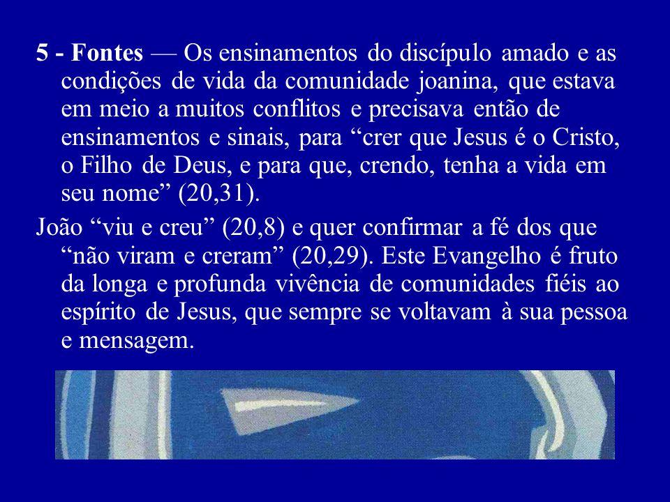 5 - Fontes Os ensinamentos do discípulo amado e as condições de vida da comunidade joanina, que estava em meio a muitos conflitos e precisava então de