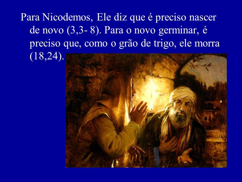 Para Nicodemos, Ele diz que é preciso nascer de novo (3,3- 8). Para o novo germinar, é preciso que, como o grão de trigo, ele morra (18,24).