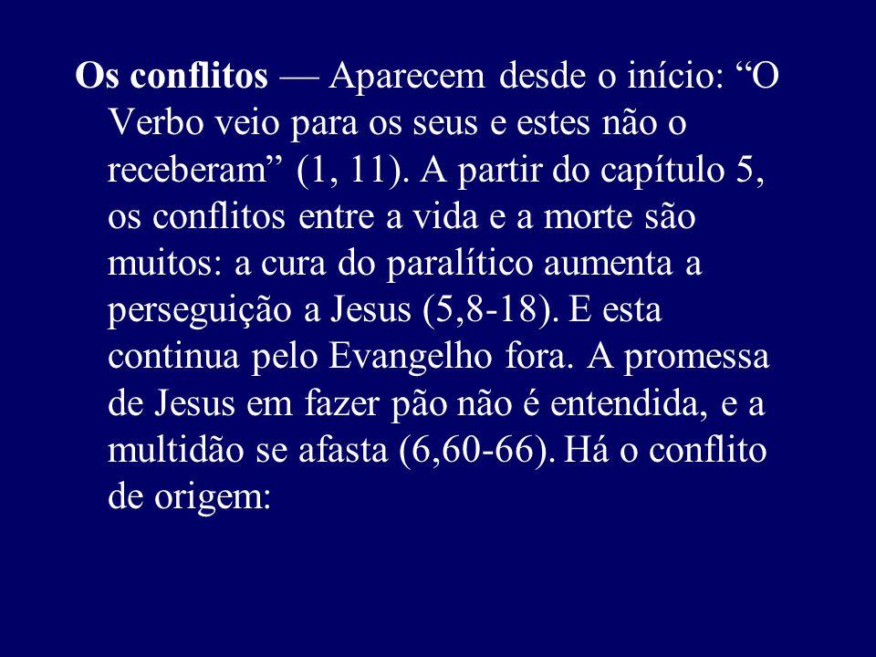 Os conflitos Aparecem desde o início: O Verbo veio para os seus e estes não o receberam (1, 11). A partir do capítulo 5, os conflitos entre a vida e a
