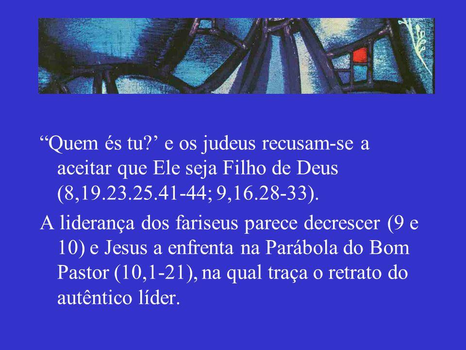 Quem és tu? e os judeus recusam-se a aceitar que Ele seja Filho de Deus (8,19.23.25.41-44; 9,16.28-33). A liderança dos fariseus parece decrescer (9 e