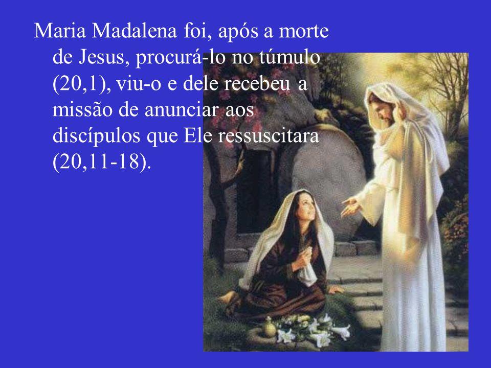 Maria Madalena foi, após a morte de Jesus, procurá-lo no túmulo (20,1), viu-o e dele recebeu a missão de anunciar aos discípulos que Ele ressuscitara