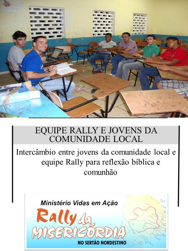 EQUIPE RALLY E JOVENS DA COMUNIDADE LOCAL Intercâmbio entre jovens da comunidade local e equipe Rally para reflexão bíblica e comunhão