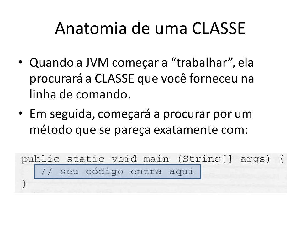 Anatomia de uma CLASSE TODO aplicativo JAVA precisa ter pelo menos uma CLASSE e um MÉTODO main.