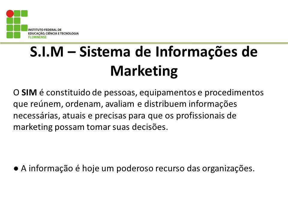 S.I.M – Sistema de Informações de Marketing O SIM é constituido de pessoas, equipamentos e procedimentos que reúnem, ordenam, avaliam e distribuem inf