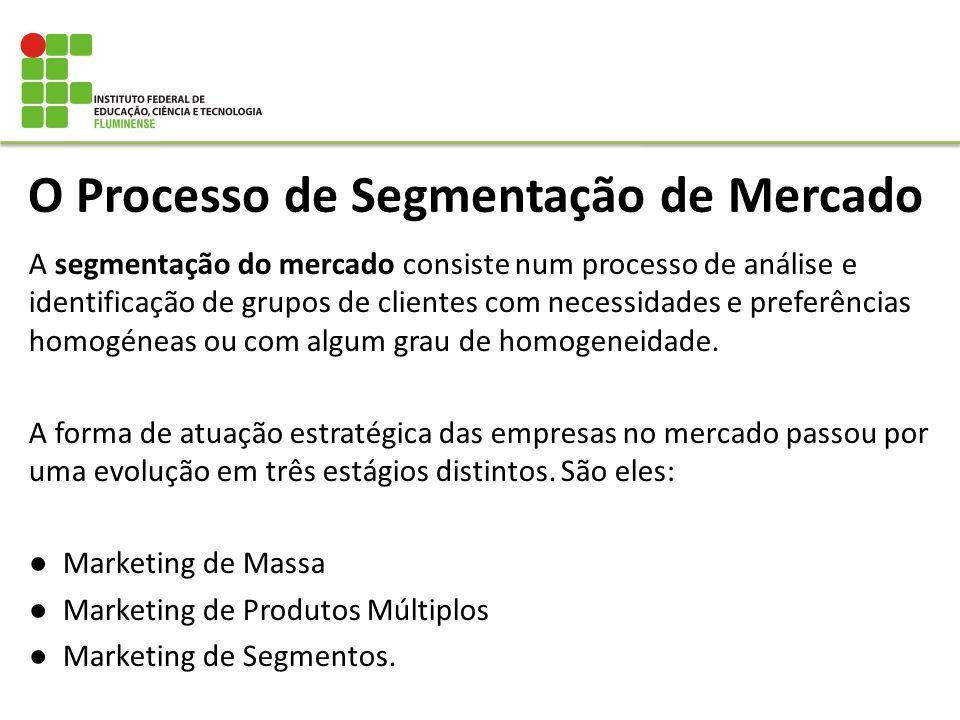 O Processo de Segmentação de Mercado A segmentação do mercado consiste num processo de análise e identificação de grupos de clientes com necessidades