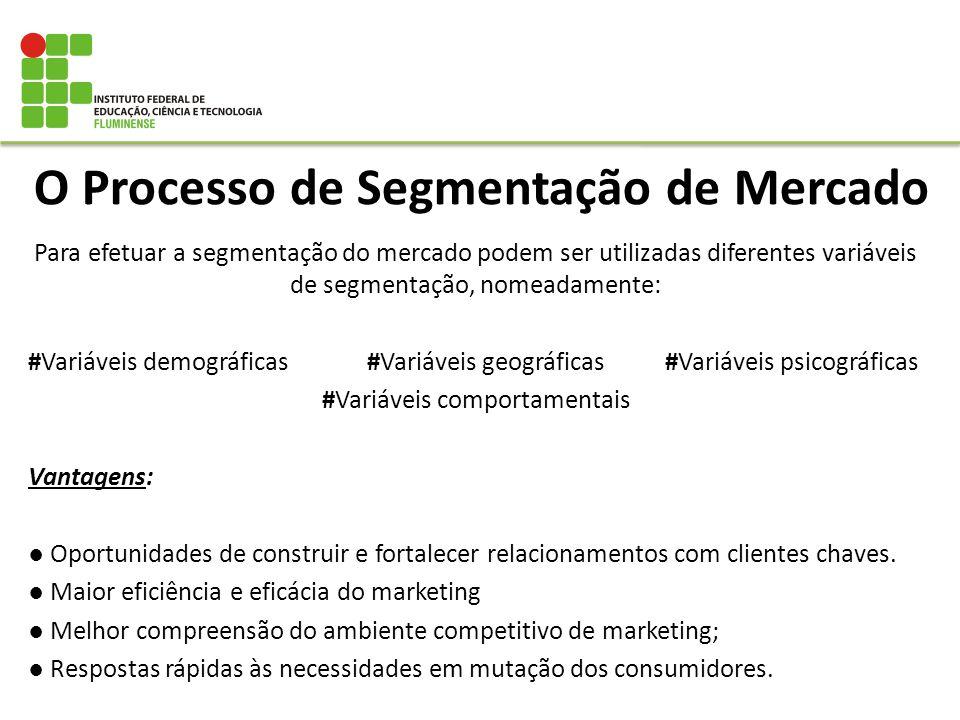 O Processo de Segmentação de Mercado Para efetuar a segmentação do mercado podem ser utilizadas diferentes variáveis de segmentação, nomeadamente: #Va