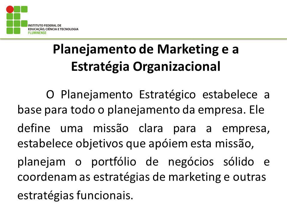 Planejamento de Marketing e a Estratégia Organizacional O Planejamento Estratégico estabelece a base para todo o planejamento da empresa. Ele define u