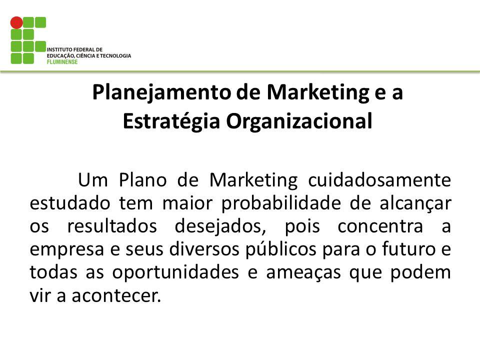 Planejamento de Marketing e a Estratégia Organizacional Um Plano de Marketing cuidadosamente estudado tem maior probabilidade de alcançar os resultado