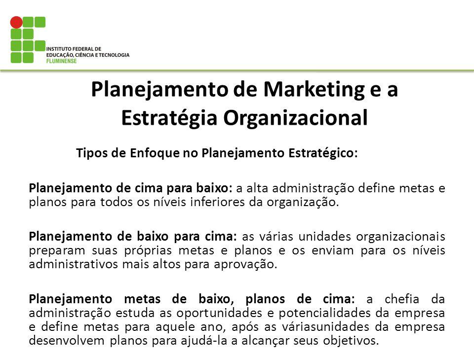 Planejamento de Marketing e a Estratégia Organizacional Tipos de Enfoque no Planejamento Estratégico: Planejamento de cima para baixo: a alta administ