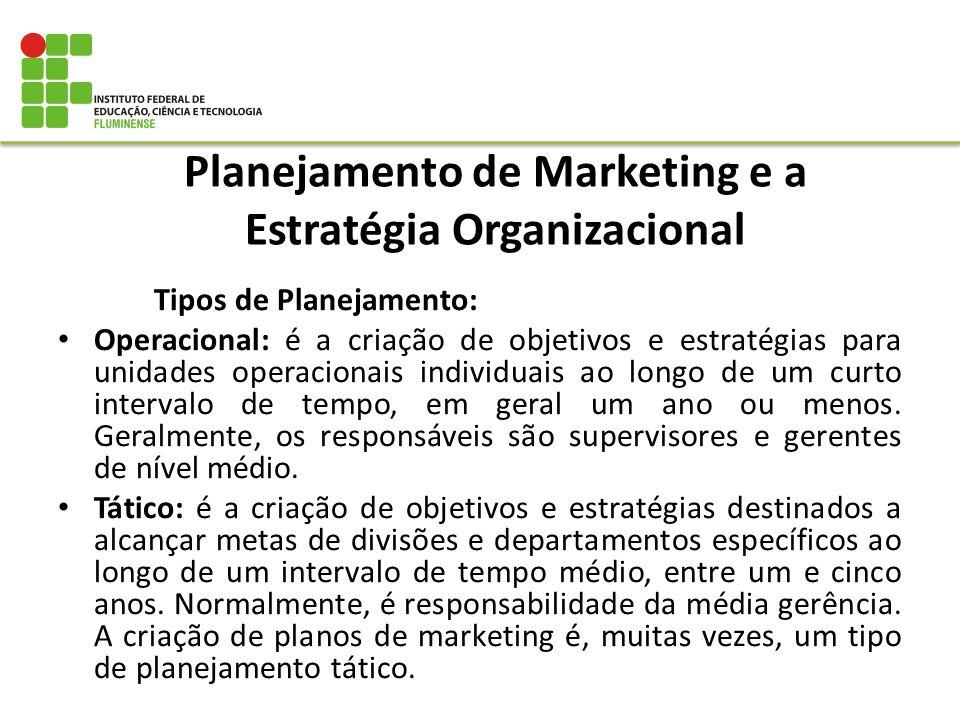 Planejamento de Marketing e a Estratégia Organizacional Tipos de Planejamento: Operacional: é a criação de objetivos e estratégias para unidades opera
