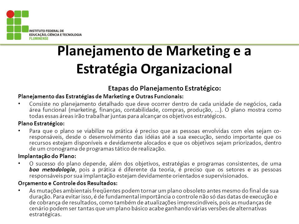 Planejamento de Marketing e a Estratégia Organizacional Etapas do Planejamento Estratégico: Planejamento das Estratégias de Marketing e Outras Funcion
