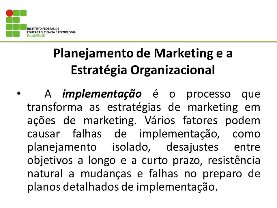 Planejamento de Marketing e a Estratégia Organizacional A implementação é o processo que transforma as estratégias de marketing em ações de marketing.