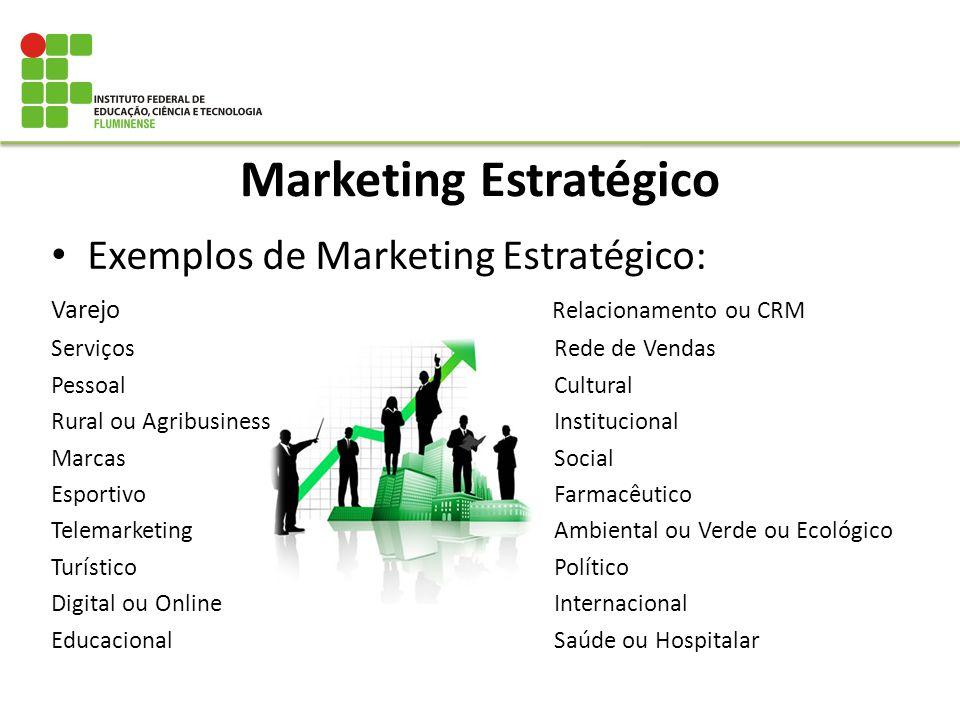 Exemplos de Marketing Estratégico: Varejo Relacionamento ou CRM Serviços Rede de Vendas Pessoal Cultural Rural ou Agribusiness Institucional Marcas So