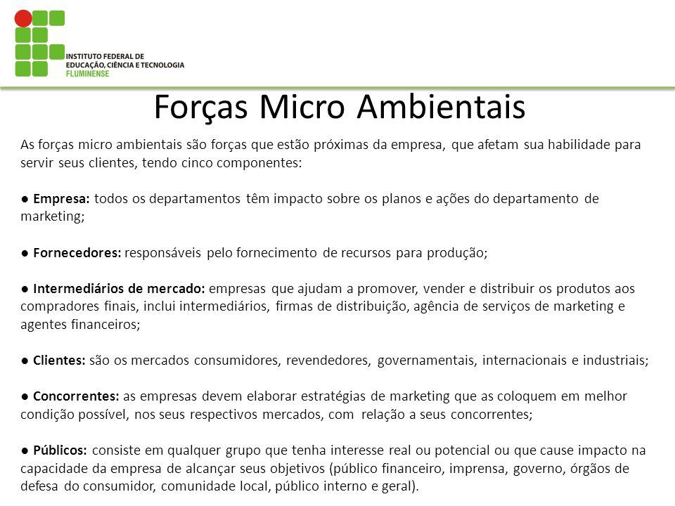 Forças Micro Ambientais As forças micro ambientais são forças que estão próximas da empresa, que afetam sua habilidade para servir seus clientes, tend