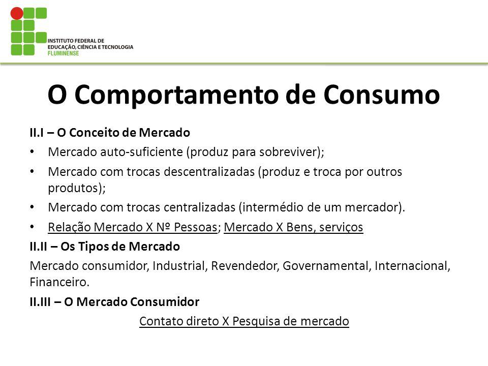 O Comportamento de Consumo II.I – O Conceito de Mercado Mercado auto-suficiente (produz para sobreviver); Mercado com trocas descentralizadas (produz
