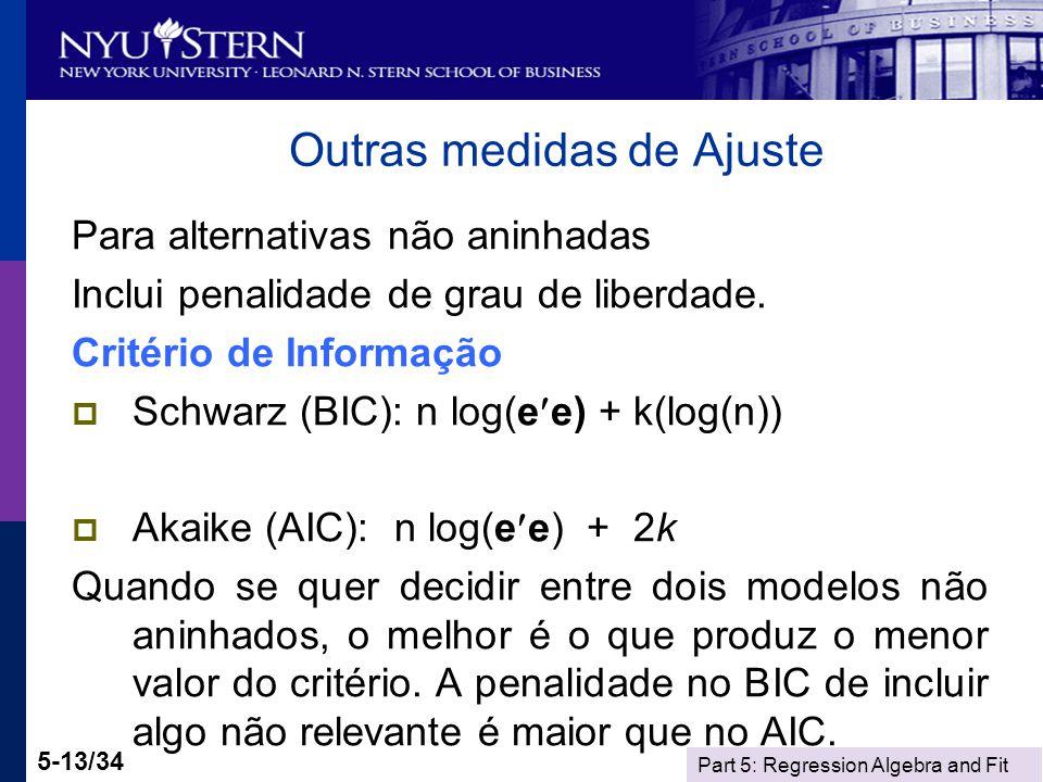 Part 5: Regression Algebra and Fit 5-13/34 Outras medidas de Ajuste Para alternativas não aninhadas Inclui penalidade de grau de liberdade. Critério d