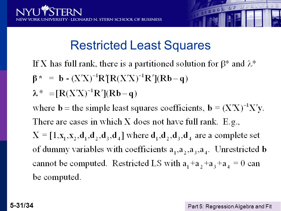 Part 5: Regression Algebra and Fit 5-31/34 Restricted Least Squares