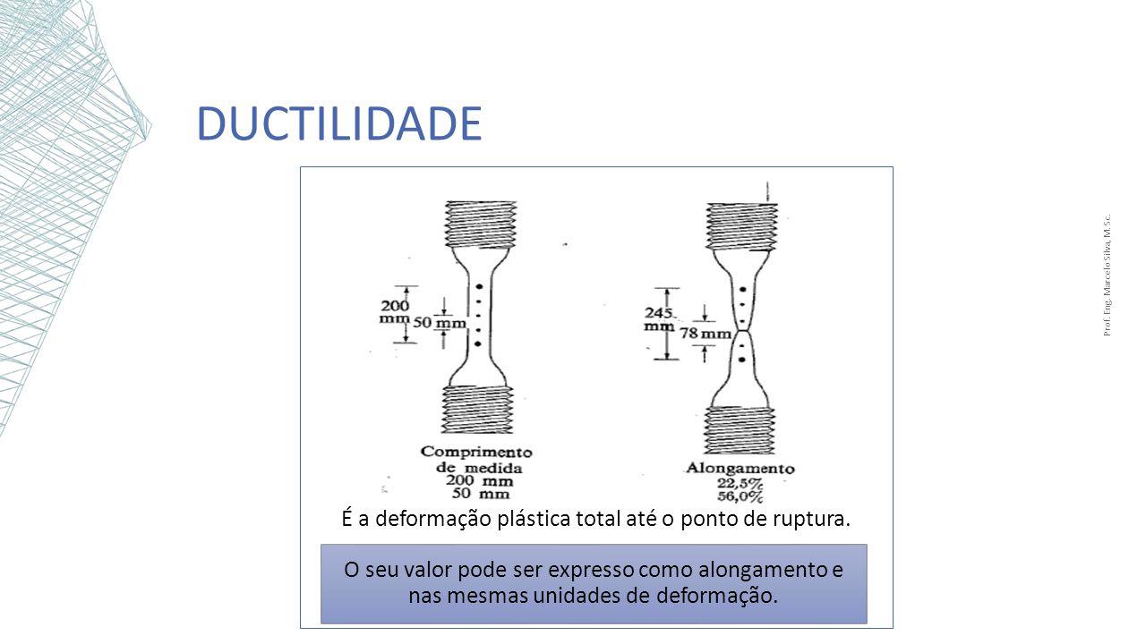 DUCTILIDADE Prof. Eng. Marcelo Silva, M. Sc. O seu valor pode ser expresso como alongamento e nas mesmas unidades de deformação. É a deformação plásti