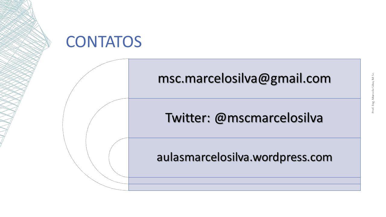 CONTATOSmsc.marcelosilva@gmail.com Twitter: @mscmarcelosilva aulasmarcelosilva.wordpress.com Prof. Eng. Marcelo Silva, M. Sc.
