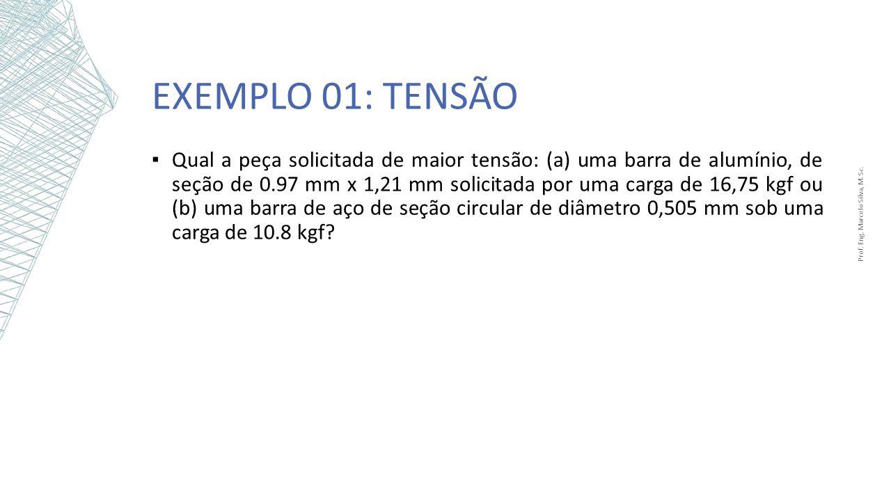 EXEMPLO 01: TENSÃO Prof. Eng. Marcelo Silva, M. Sc. Qual a peça solicitada de maior tensão: (a) uma barra de alumínio, de seção de 0.97 mm x 1,21 mm s